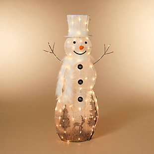 Christmas LED Lighted White Snowman with Scarf and Top Hat, , rollover