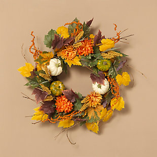 Fall 26-Inch Harvest Wreath with Pumpkin and Berry Accents, , rollover