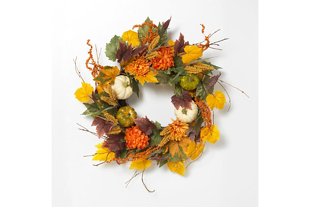 Fall 26-Inch Harvest Wreath with Pumpkin and Berry Accents, , large