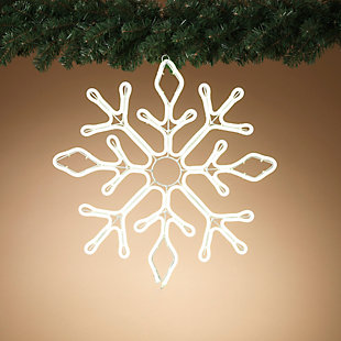 Christmas LED White Neon Lit Hanging Snow Flake with Outdoor Adaptor, , rollover
