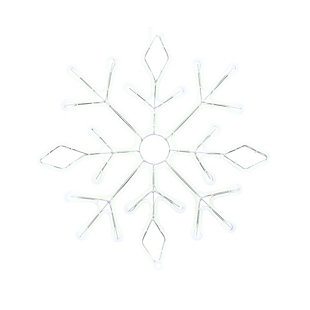 Christmas LED White Neon Lit Hanging Snow Flake with Outdoor Adaptor, , large