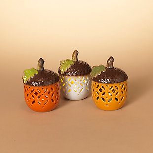 Fall Assorted Battery Operated Lighted Carmic Acorns (Set of 3), , rollover