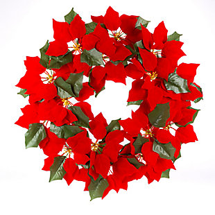Christmas 24-Inch Lighted Poinsettia Wreath with 45 Micro LED Lights, , large