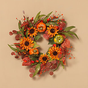 Fall 24-Inch Harvest Wreath with Pumpkin and Berry Accents, , rollover