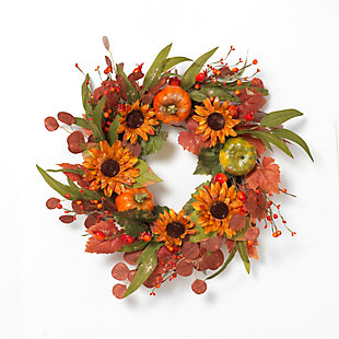 Fall 24-Inch Harvest Wreath with Pumpkin and Berry Accents, , large