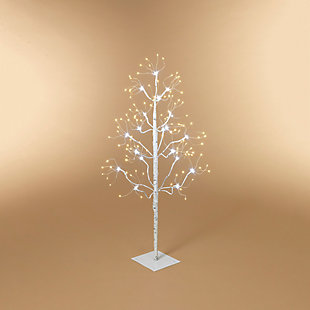 Christmas 36-Inch White Electric Birch Tree with 228 LED Lights, , rollover