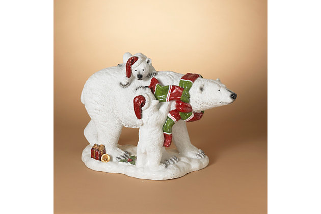 Christmas 20-inch Magnesium Polar Bear with Two Cubs, , large