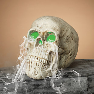 Halloween 20.8-Inch Electric Magnesium Smoking Haunted Skull, , rollover