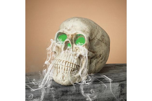 Halloween 20.8-Inch Electric Magnesium Smoking Haunted Skull, , large