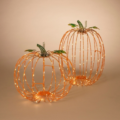 Halloween Assorted Electric Metal Harvest Pumpkins (set Of 2), , large