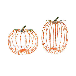 Halloween Assorted Electric Metal Harvest Pumpkins (Set of 2), , large