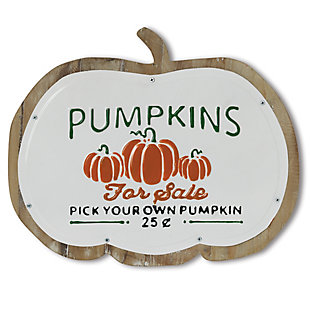 "Fall 18.3-Inch Metal and Wood ""Pumpkins"" Wall Art, , rollover"