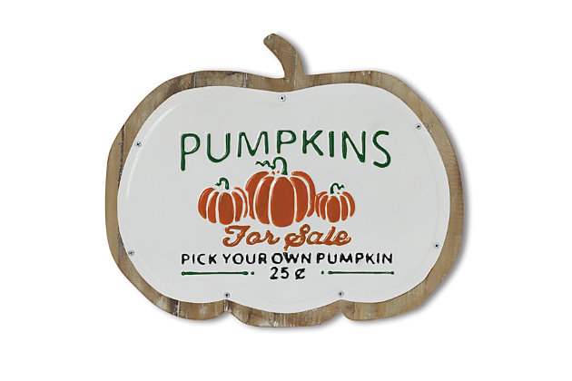 "Fall 18.3-Inch Metal and Wood ""Pumpkins"" Wall Art, , large"