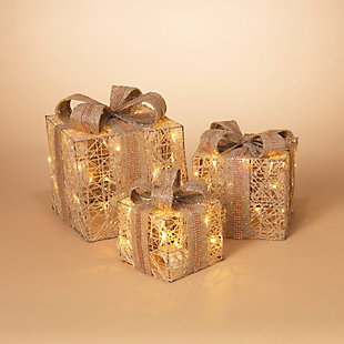 Christmas Battery Operated Holiday Jewel Gift Box Décor (Set of 3), , rollover