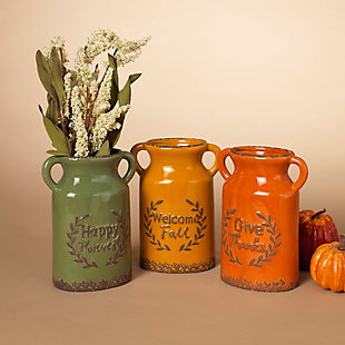 Fall Assorted Ceramic Harvest Vases (Set of 3), , rollover