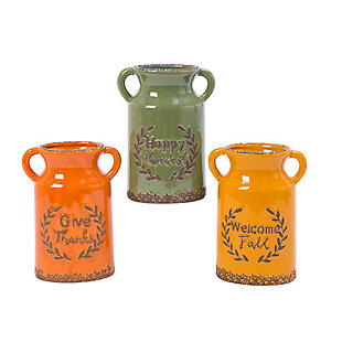Fall Assorted Ceramic Harvest Vases (Set of 3), , large