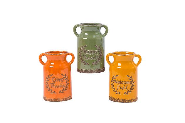 Fall Assorted Ceramic Harvest Vases (Set of 3), , large