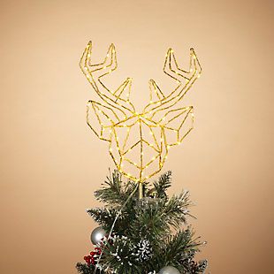 Christmas 14.5-inch LED Wrapped Electric Deer Head Tree Topper, , rollover