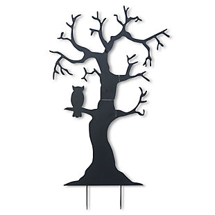 Fall 72.5-Inch Metal Tree Silhouette Yard Stake with Owl, , large