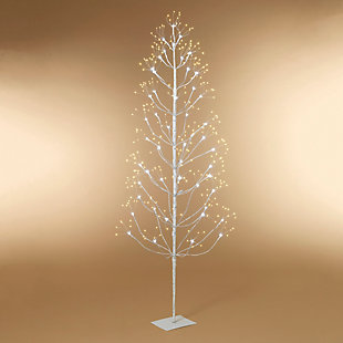 Christmas 72-Inch White Electric Birch Tree with 588 LED Lights, , rollover