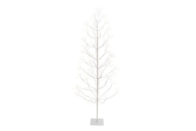 Christmas 72-Inch White Electric Birch Tree with 588 LED Lights, , large