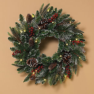 Christmas 24-Inch Frosted PVC Decorative Wreath with 25 LED Lights, , rollover