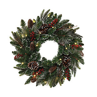 Christmas 24-Inch Frosted PVC Decorative Wreath with 25 LED Lights, , large