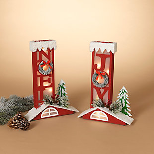 Christmas Assorted Battery Operated Lighted Chimney Décor (Set of 2), , rollover