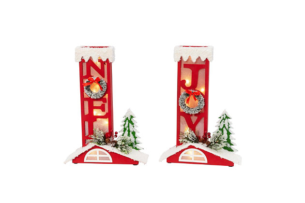Christmas Assorted Battery Operated Lighted Chimney Décor (Set of 2), , large