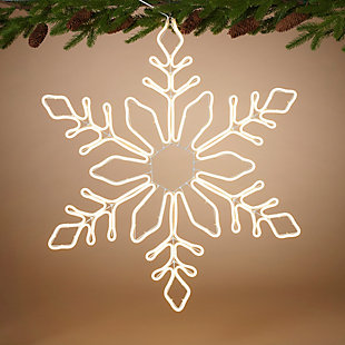 Christmas White LED Neon Lit Hanging Snow Flake with Outdoor Adapter, , rollover