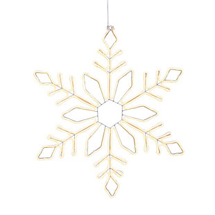 Christmas White LED Neon Lit Hanging Snow Flake with Outdoor Adapter, , large