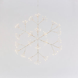 Christmas 16-Inch Firecracker LED Hanging Snow Flake with Battery Box, , large