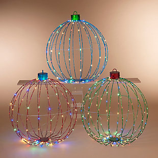 Christmas 30-Inch Collapsible Ornaments with Remote Feature (Set of 3), , rollover