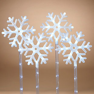 Christmas 30-inch LED Lighted Snowflake Yard Stakes (Set of 4), , rollover