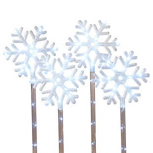 Christmas 30-inch LED Lighted Snowflake Yard Stakes (Set of 4), , large
