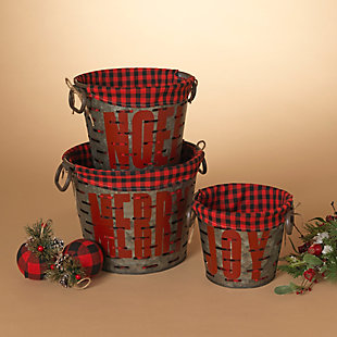 Christmas Nesting Metal Holiday Baskets with Fabric Liner (Set of 3), , rollover