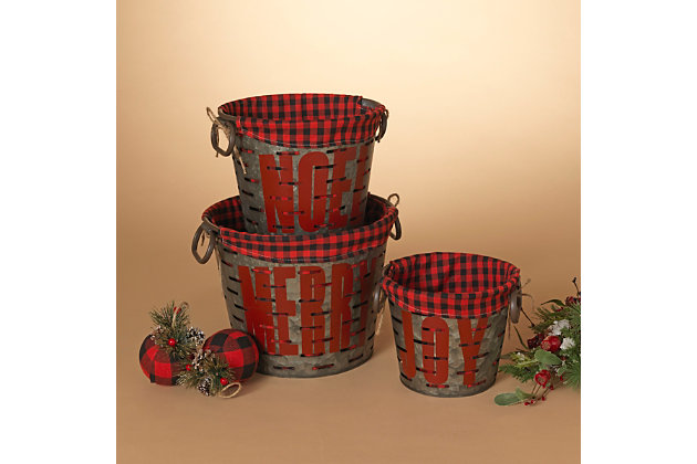 Christmas Nesting Metal Holiday Baskets with Fabric Liner (Set of 3), , large