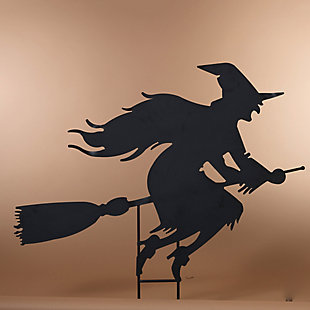 Halloween 43.5-Inch Metal Witch on Broom Silhouette Yard Stake, , rollover