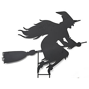 Halloween 43.5-Inch Metal Witch on Broom Silhouette Yard Stake, , large
