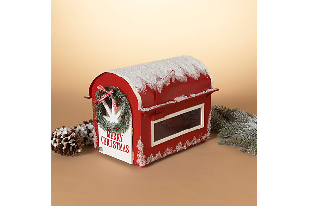 Christmas 13.75-Inch Wooden Holiday Mailbox For Santa, , large