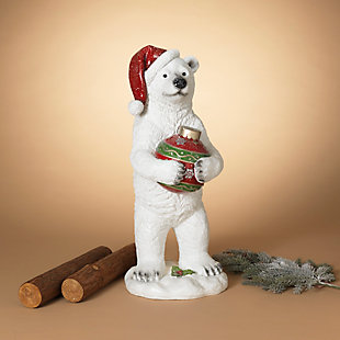 Christmas 29.5-Inch Holiday Polar Bear Holding Ornament, , rollover