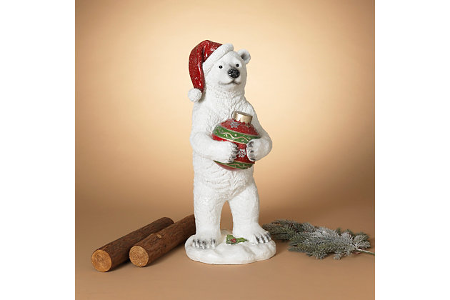 Christmas 29.5-Inch Holiday Polar Bear Holding Ornament, , large