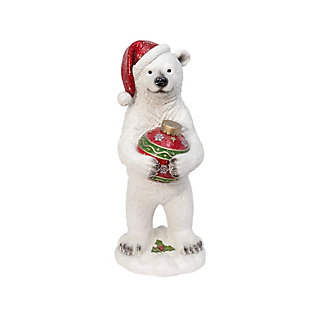 Christmas 29.5-Inch Holiday Polar Bear Holding Ornament, , large