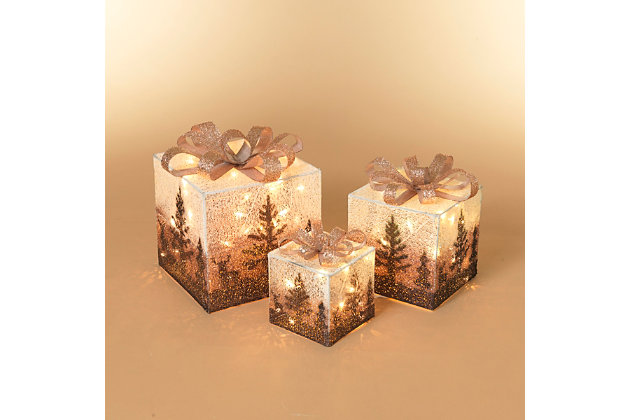Christmas Lighted Holiday Jewel Gift Box Décor (Set of 3), , large