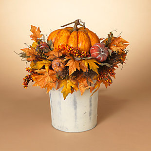 Fall 2Ft. Jumbo Harvest Pumpkin and Floral Arrangement, , rollover