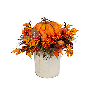 Fall 2Ft. Jumbo Harvest Pumpkin and Floral Arrangement, , large
