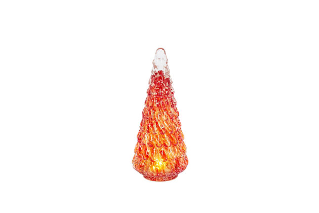 Christmas 9.5-Inch Lighted Handblown Glass Décor Tree, , large