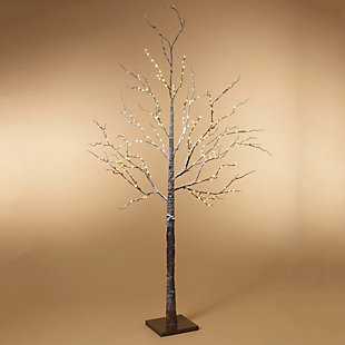 Halloween 82.67-Inch Brown Wrapped Snowy Tree with LED Lighting, , rollover