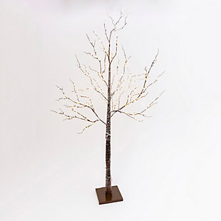 Halloween 82.67-Inch Brown Wrapped Snowy Tree with LED Lighting, , large