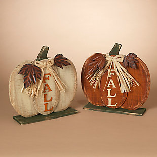 Fall Assorted Wooden Tabletop Fall Pumpkin Décor (Set of 2), , rollover